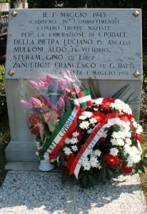 Cividale del Friuli - lapide presso il ponte sul Rugo Emiliano