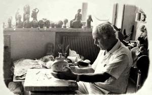 moretti al lavoro sulel prime ceramiche per Pagura
