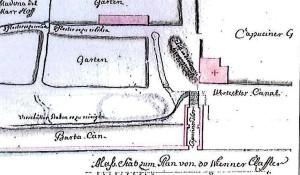 L'antica Porta Cavana, in un disegno di autore ignoto, qui indicata come Capuciner Thor