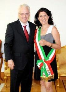 Il presidente Josipovic con Luisa Sello