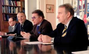 Da sinistra: PierCipriano Rollo Presidente del Rotary Club Trieste Nord; Fabio Santorini Presidente del Rotary Club Trieste; Sergio Ashiku Vice Presidente del Rotary Club Muggia e Roberto Sponza Past President del Rotary Club Monfalcone-Grado alla conferenza stampa di presentazione del Rotary Day