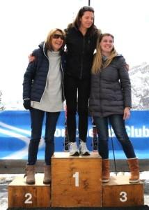 Il podio femminile: Bombieri, Gamper e Calusa