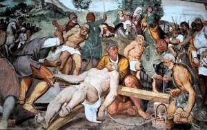 Spilimbergo, chiesa di Baseglia. Pomponio Amalteo - Cristo inchiodato alla croce