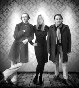 In un fotomontaggio, i due autori Paola Russo e Massimiliano Donninelli, insieme al padre dell'operetta Jacques Offenbach
