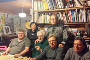Da sinistra Loris Agorto, Giuditta Dessy, il critico Giuseppe Raffaelli, Luigi Brolese, Domenico Ghin e Daniele Ghin