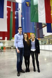 Malignani: gli studenti Onorato e Copil con prof. Ginevra. Foto De Maio