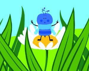 Cartone animato bue blu piccolo triste premium clipart